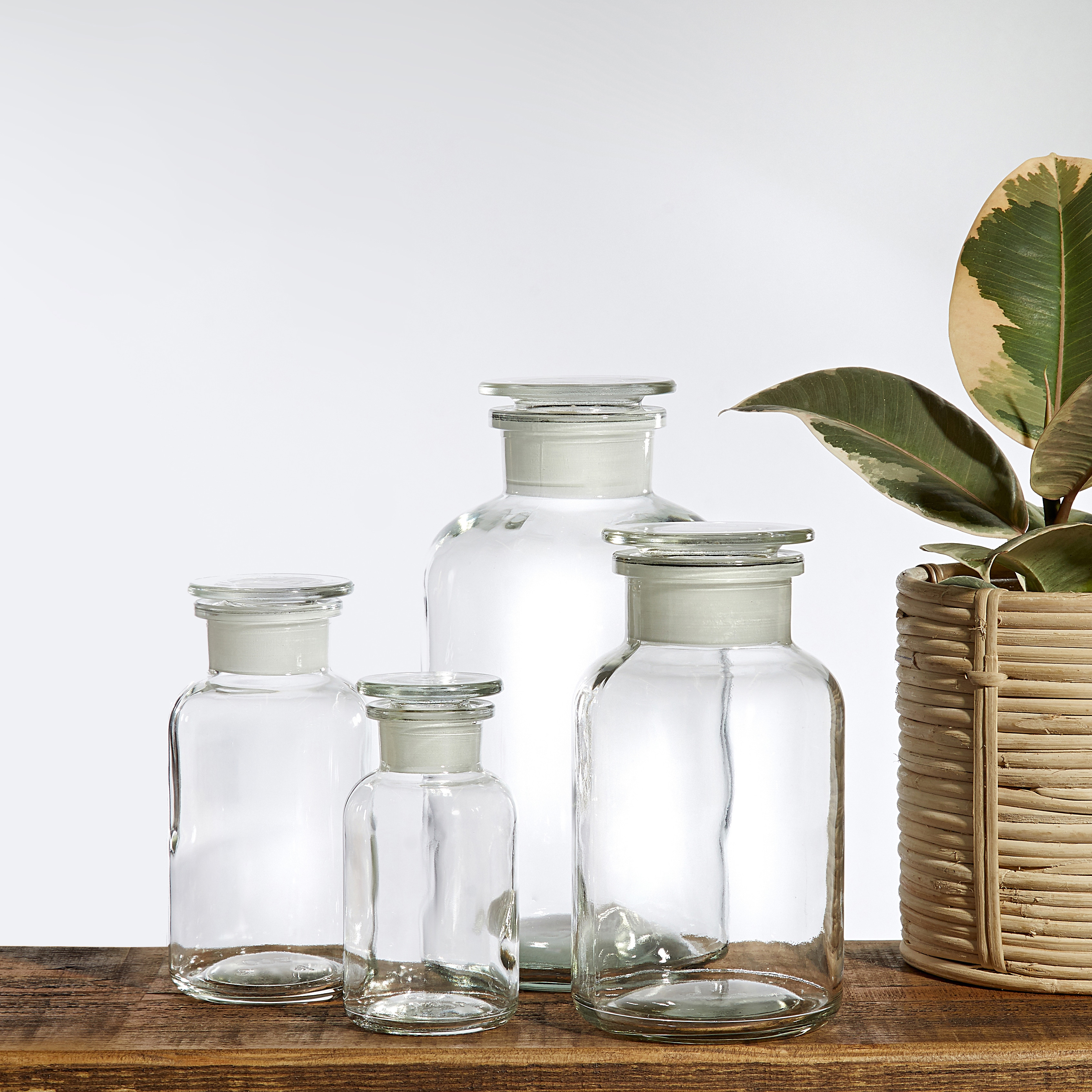 A selection of clear glass apothecary Jars